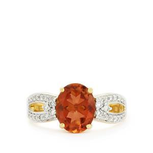 Oregon Sunstone & Diamond 18k Gold Tomas Rae Ring MTGW 2.33cts