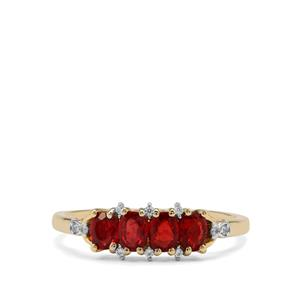 Songea Ruby Ring with White Zircon in 9K Gold 0.92ct
