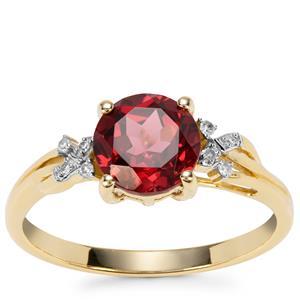 Savanna Pink Garnet Ring with Diamond in 9K Gold 1.60cts