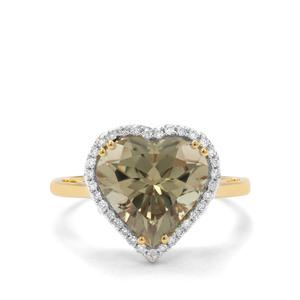 Csarite® & Diamond 18K Gold Lorique Ring MTGW 4.77cts