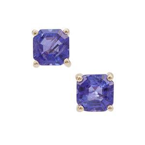 Asscher Cut Tanzanite Earrings in 9K Gold 1.70cts