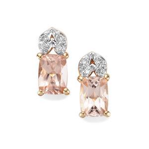 Alto Ligonha Morganite Earrings with Diamond in 9K Gold 1.63cts