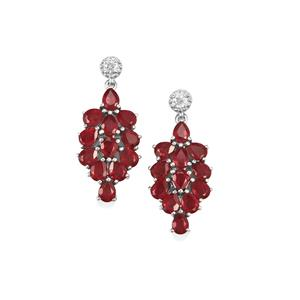 Malagasy Ruby Earrings with White Zircon in Sterling Silver 5.82cts