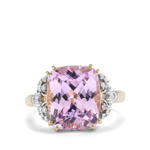 Kolum Kunzite & Diamond 18K Gold Lorique Ring MTGW 9.43cts