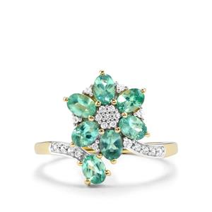 Alexandrite Ring with White Zircon in 10K Gold 1.49cts