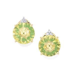 Lehrer KaleidosCut Green Gold Quartz, Zambian Emerald Earrings with Diamond in 10K Gold 3.02cts