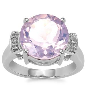 Sapucaia Quartz Ring with Diamond in Sterling Silver 5.88cts