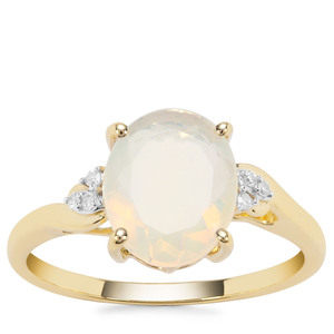 Ethiopian Opal Ring with Diamond in 9K Gold 1.35cts
