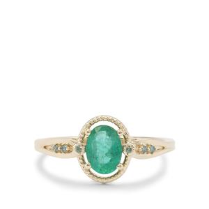 Zambian Emerald Ring with Green Diamond in 9K Gold 0.70ct