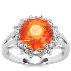 Padparadscha Colour Quartz Ring with White Topaz in Sterling Silver 3.76cts