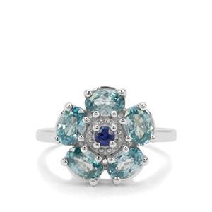 Ratanakiri Blue Zircon & Nilamani Sterling Silver Ring ATGW 3.77cts