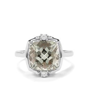 Prasiolite & White Zircon Sterling Silver Ring ATGW 4.43cts