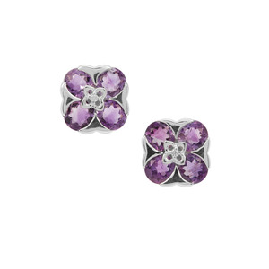 Moroccan Amethyst Earrings with White Zircon in Sterling Silver 3.67cts