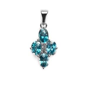 Ratanakiri Blue Zircon Pendant with White Topaz in Sterling Silver 2.81cts