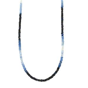 39.50ct Burmese Blue Sapphire Sterling Silver Graduated Shaded Bead Necklace with Magnetic Lock
