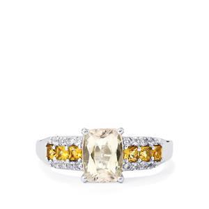 Canary Kunzite, Yellow Tourmaline & White Topaz Sterling Silver Ring ATGW 2.06cts