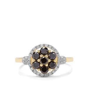 1ct Black & White Diamond 9K Gold Ring