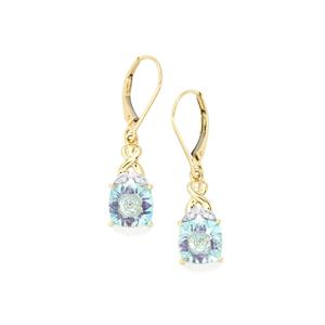 Lehrer KaleidosCut Sky Blue Topaz, Ametista Amethyst & Diamond 9K Gold Earrings ATGW 4.49cts
