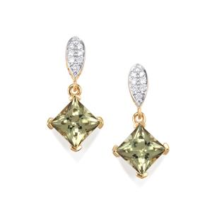Csarite® Earrings with Diamond in 18K Gold 4.08cts