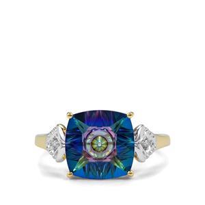Lehrer QuasarCut Mystic Topaz & Diamond 10K Gold Ring ATGW 3.91cts