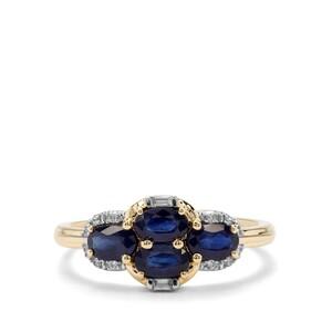 Sant Sapphire & White Zircon 9K Gold Ring ATGW 1.32cts