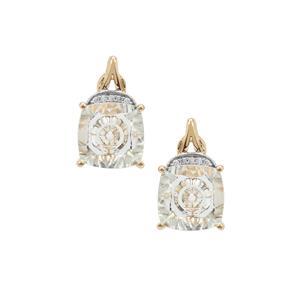 Lehrer Quasar Cut Prasiolite Earrings with Diamond in 9K Gold 3.65cts