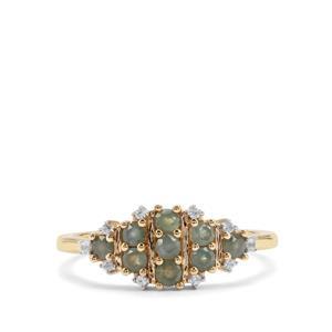 Alexandrite & White Zircon 9K Gold Ring ATGW 0.59cts