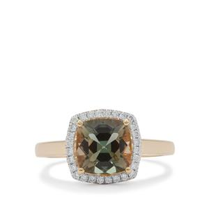 Oregon Teal Sunstone Ring with Diamond in 18K Gold 2cts