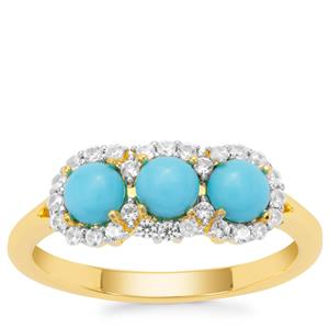 Sleeping Beauty Turquoise Ring with White Zircon in Gold Plated Sterling Silver 1.11cts