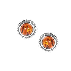 Baltic Cognac Amber Earrings in Sterling Silver (5mm)