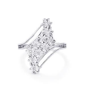 1/20ct Diamond Sterling Silver Halo Diamond Ring