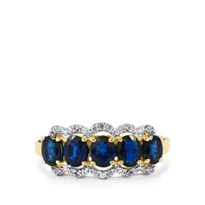 Australian Blue Sapphire & White Zircon 9K Gold Ring ATGW 1.80cts