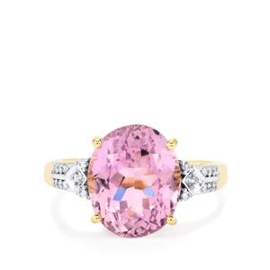 Mawi Kunzite Ring with Diamond in 14K Gold 7.34cts
