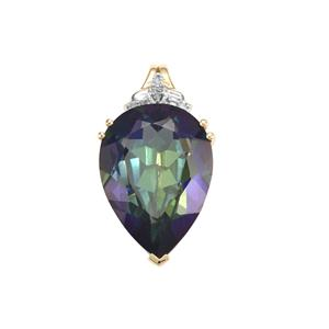 Mystic Topaz Pendant with Diamond in 9K Gold 12.21cts