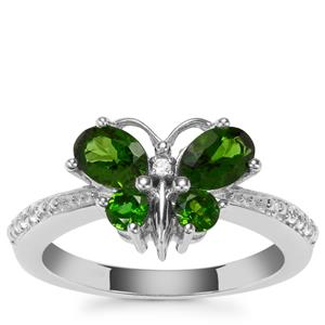 Chrome Diopside Butterfly Ring with White Zircon in Sterling Silver 1.37cts