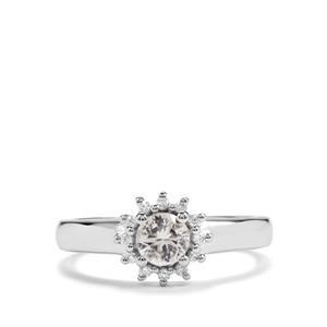 0.62ct White Zircon Sterling Silver Monochrome Ring
