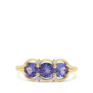 AA Tanzanite & Diamond 9K Gold Ring ATGW 1.54cts