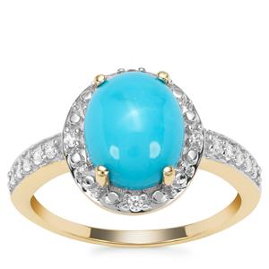 Sleeping Beauty Turquoise Ring with White Zircon in 9K Gold 2.43cts