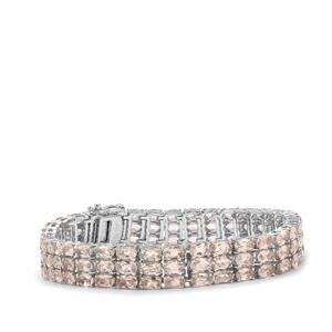 21.53ct Alto Ligonha Morganite Sterling Silver Bracelet