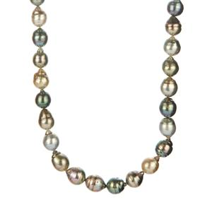 Tahitian Cultured Pearl Sterling Silver Necklace (11x8mm)