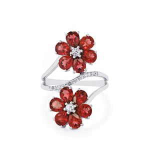 Rajasthan Garnet & White Topaz Sterling Silver Ring ATGW 4.80cts