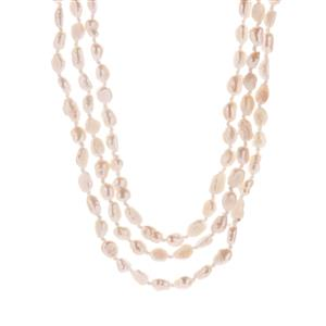 Baroque Cultured Pearl Endless Necklace ( 6x5mm)
