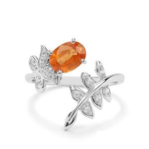 Mandarin Garnet & White Zircon Sterling Silver Ring ATGW 1.93cts