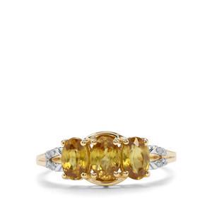 Ambilobe Sphene & Diamond 9K Gold Ring ATGW 1.63cts
