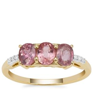 Padparadscha Sapphire Ring with Diamond in 9K Gold 1.50cts