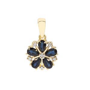 Sri Lankan Sapphire & Diamond 9K Gold Pendant ATGW 1.15cts