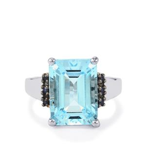 Sky Blue Topaz Ring with Blue Sapphire in Sterling Silver 8.93cts