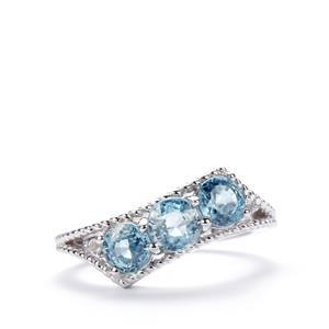 Ratanakiri Blue Zircon & White Topaz Sterling Silver Ring ATGW 1.81cts