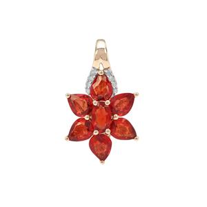 Songea Ruby Pendant with Diamond in 9K Gold 1.96cts