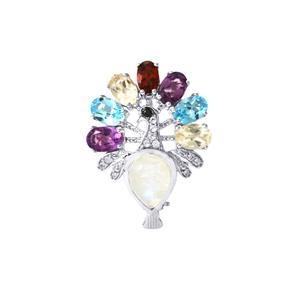 Kaleidoscope Gemstones Brooch in Sterling Silver 5.65cts